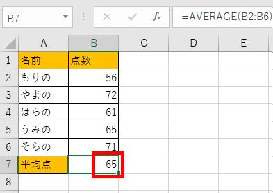 AVERAGE関数で平均値を出した画像