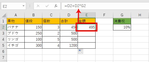 税込み価格の計算がされたセルの画像