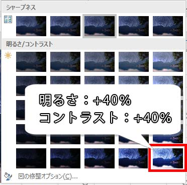 明るさ:+40%、コントラスト:+40%