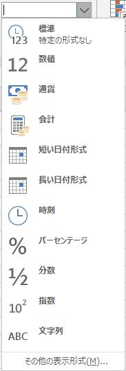 表示形式の一覧の画像