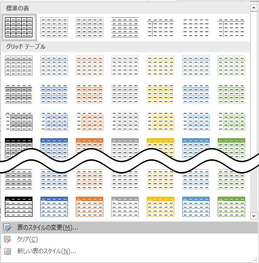 表のスタイルの一覧