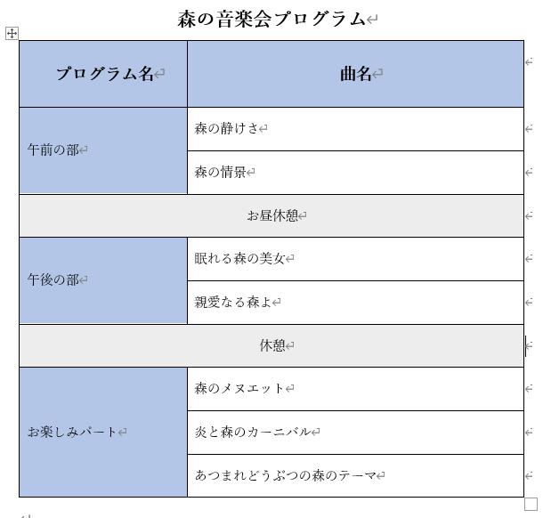 表の文字の配置を変えた表
