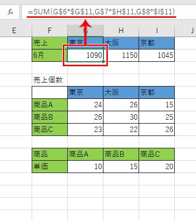 セル参照された数式が書かれたセル