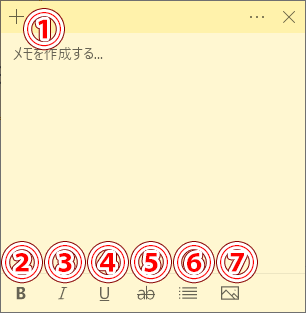 付箋アプリの画面の見方