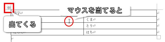 表の左上の十字の矢印のアイコン