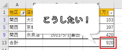 表示されたセルだけの合計が出せる表