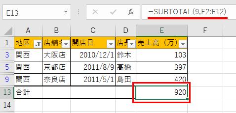 フィルターを使った表をSUBTOTAL関数を使って合計を出した