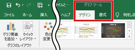 グラフツール、デザインタブと書式タブ