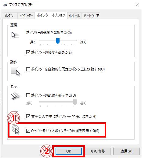 「Ctrlキーを押すとポインターの位置を表示する」にチェックを入れた画像