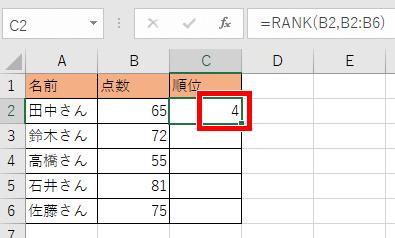 RANK関数を使った式