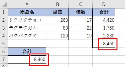 SUMPRODUCT関数を使った表