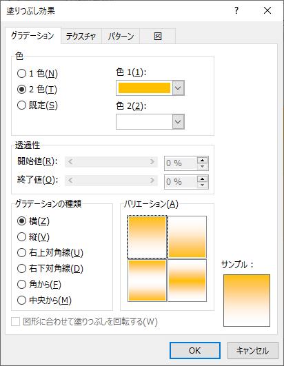 オレンジのグラデーションの設定