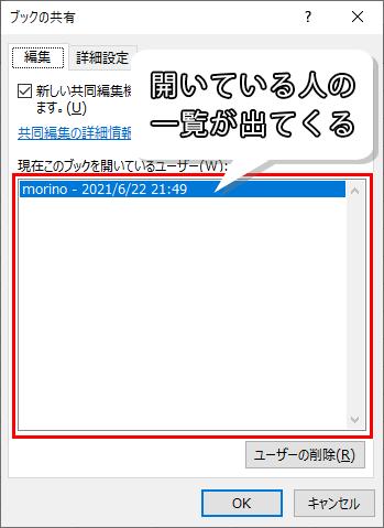現在このブックを開いているユーザーの画面
