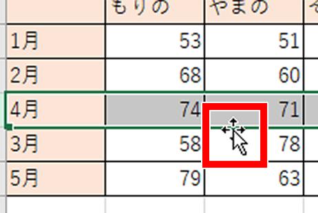 マウスポインタが十字の矢印マークに変った画像